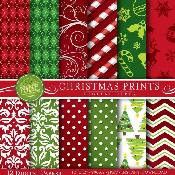 CHRISTMAS Digital Paper: Red Green Christmas by MNINEDESIGNS
