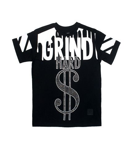 """HERITAGE+Graphic+logo+tee+Short+sleeve+tee+Crew+neck+with+ribbed+collar+Cotton+for+comfort+Rhinestone+detail+on+""""Hard""""+lettering+on+front+and+dollar+sign"""