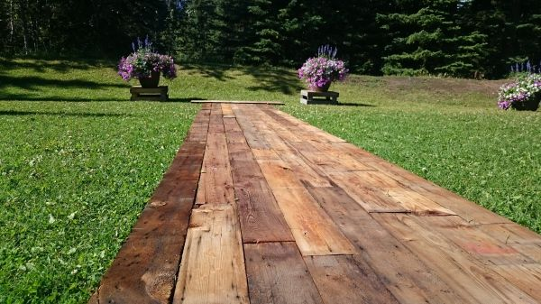 Amazing Wedding Aisle. Would make a beautiful interior hallway as well!  Constructed for Summer 2015 Wedding using Douglas Fir from the barn located near Strathmore, Alberta. Contact us today for your own custom wedding/event feature! www.greenlightindustries.ca