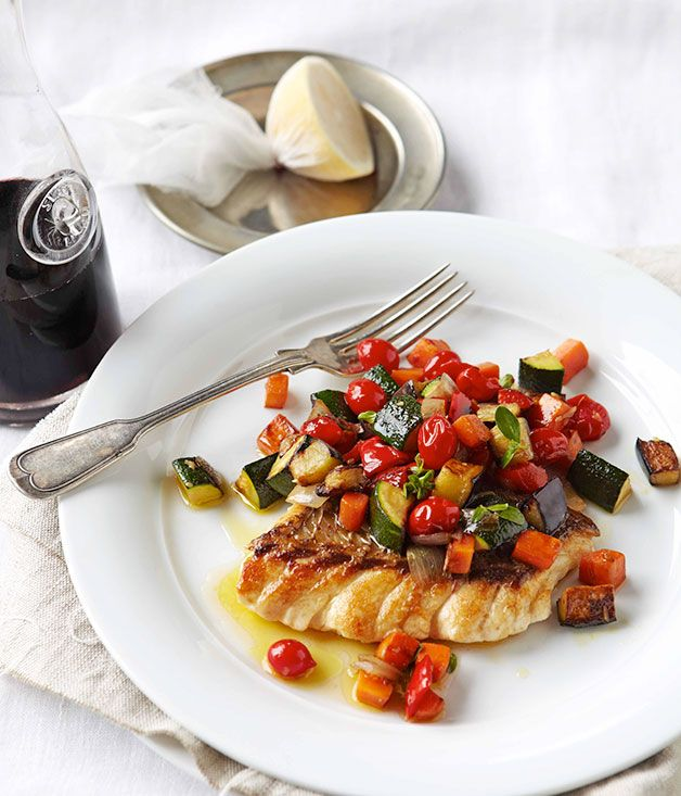 Australian Gourmet Traveller recipe for Ratatouille with ruby snapper