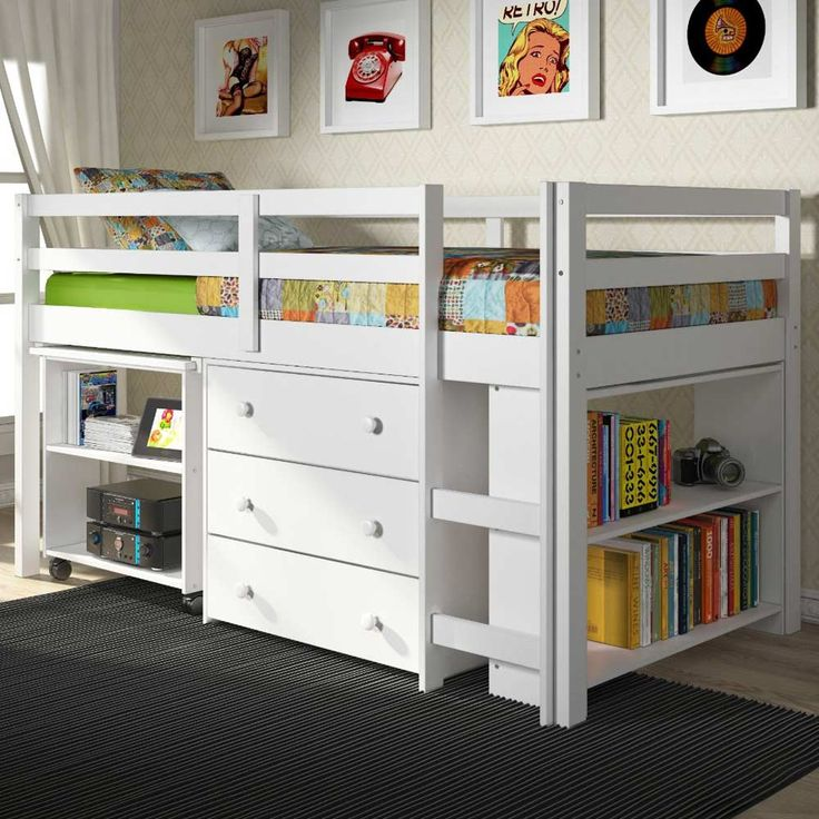 Found it at www.dcgstores.com - ♥ ♥ Nicolai Low Twin Size Loft Bed - Roll-Out Desk, Chest, White ♥ ♥
