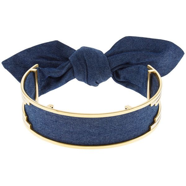 MONICA SORDO Indigo Denim Bandita Cuff Choker ($495) ❤ liked on Polyvore featuring jewelry, necklaces, accessories, polish jewelry, bow choker, tie chokers, tie choker necklaces and engraved necklaces