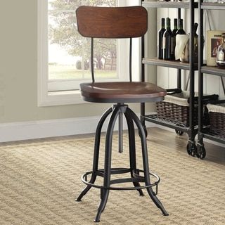 Baxton Studio Justin Distressed Natural Bar Chair with Adjustable Seat | Overstock.com Shopping - The Best Deals on Bar Stools
