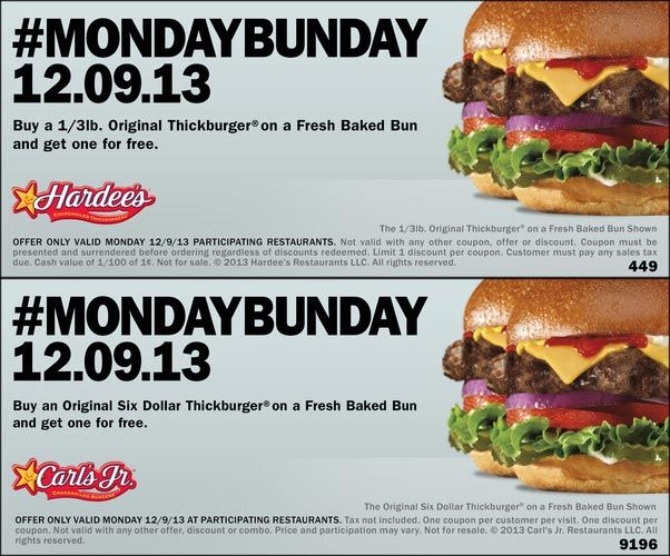 Pinned December 9th: Second thickburger #free today at Carls Jr. & Hardees restaurants #coupon via The Coupons App