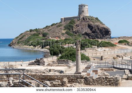 Ancient spanish tower of Coltellazzo, Nora, Pula, Sardinia, Italy