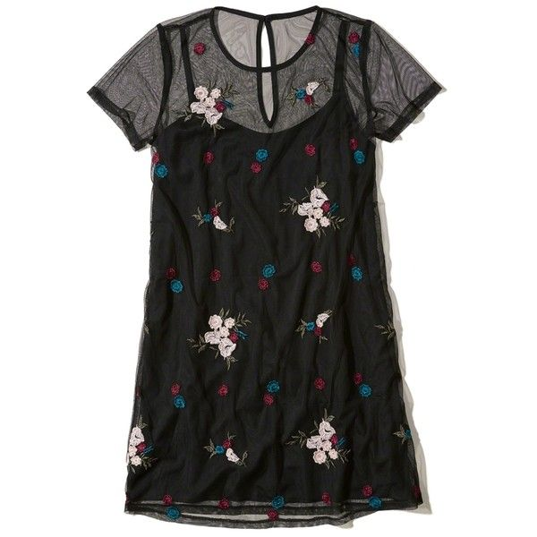 Hollister Embroidered Mesh T-Shirt Dress (1.455 RUB) ❤ liked on Polyvore featuring dresses, black floral, floral t shirt dress, flower embroidered dress, tee shirt dress, embroidery dress and floral embroidered dress