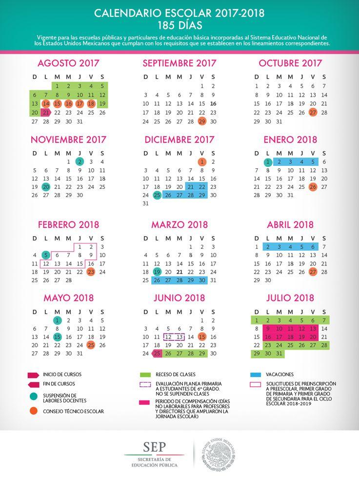Conoce el inicio de cursos, periodos vacacionales, suspensión de labores y más información relacionada al calendario escolar 2017 - 2018 ~ Apoyo para Primaria - Profr. Santos Rivera
