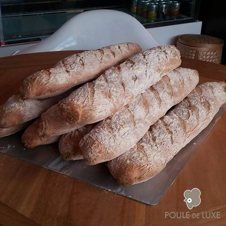A BAGUETTE, BECAUSE WE ARE FRENCH AFTERALL!  Hello dear customers,  Today is a big day! Today is our big day at Poule de Luxe!  Indeed! Starting from today, Poule de Luxe can provide you with our new and delicious #French and traditionnal #baguette .  Because you can't give French people a oven, some #flour , water and salt without expecting that they will try to make their very own baguette one day or another...  It is what we did! And it worked well!