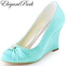 Women Wedding Wedges High Heel Bridal Shoes Rhinestone Closed Satin Lady Bride Bridesmaid Party Dress Pumps EP2005 Pink Mint Red(China)