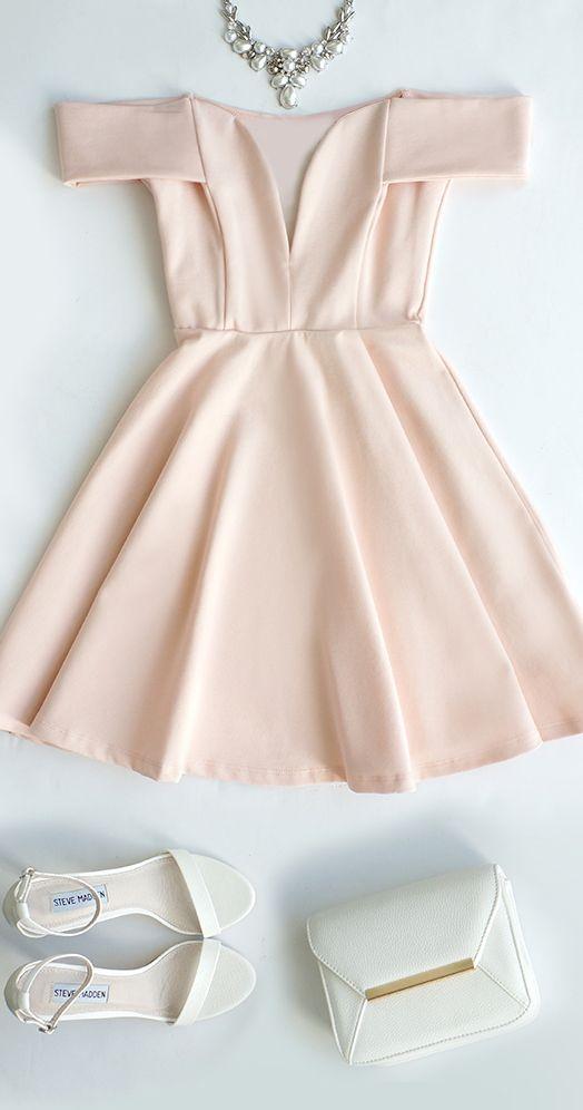 Cute Off-the-Shoulder Homecoming Dress, Light Pink Prom Dress,V-Neck Evening Dress,Party Dress