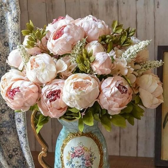 Artificial Peony Bouquet Silk Peonies Bunch Pink Wedding Etsy In 2020 Artificial Silk Flowers Fake Flowers Artificial Peonies