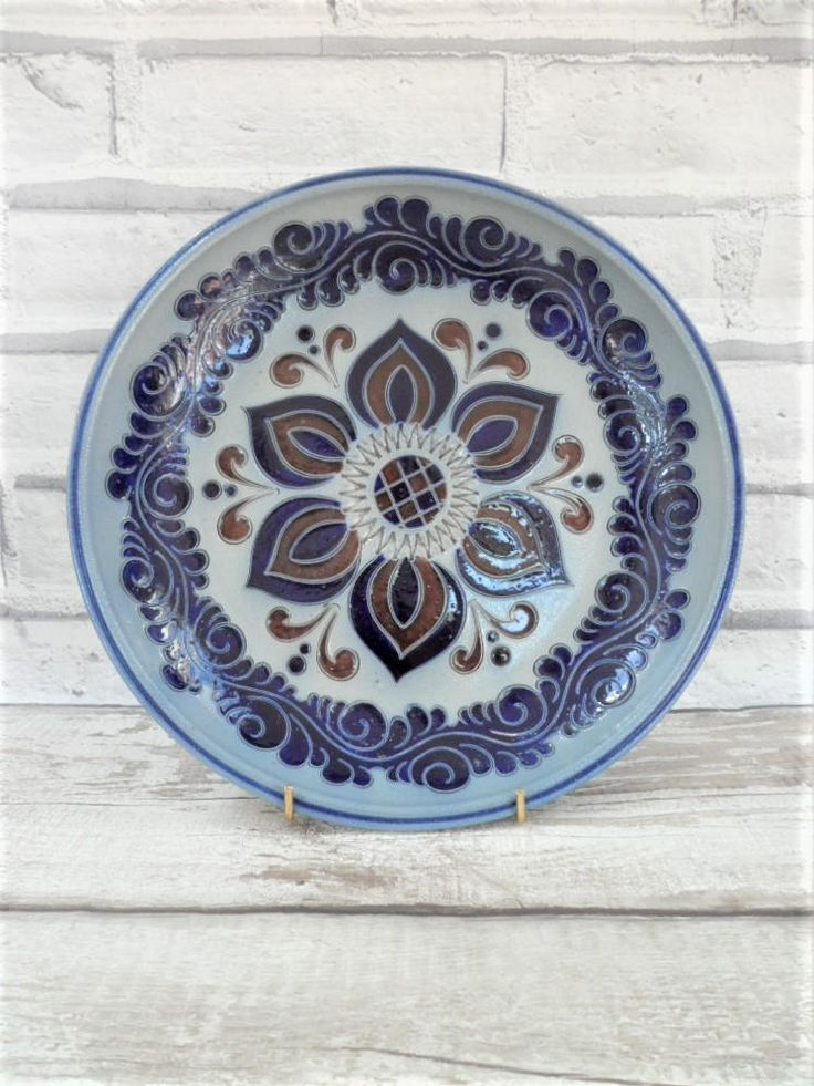Salt Glaze Platter German Westerwald Pottery Vintage Burgundy and Cobalt Blue Shallo Dish Interior Home Decor Collectables & 50 best Clay Pottery Ceramics images on Pinterest | Salt Salts and ...