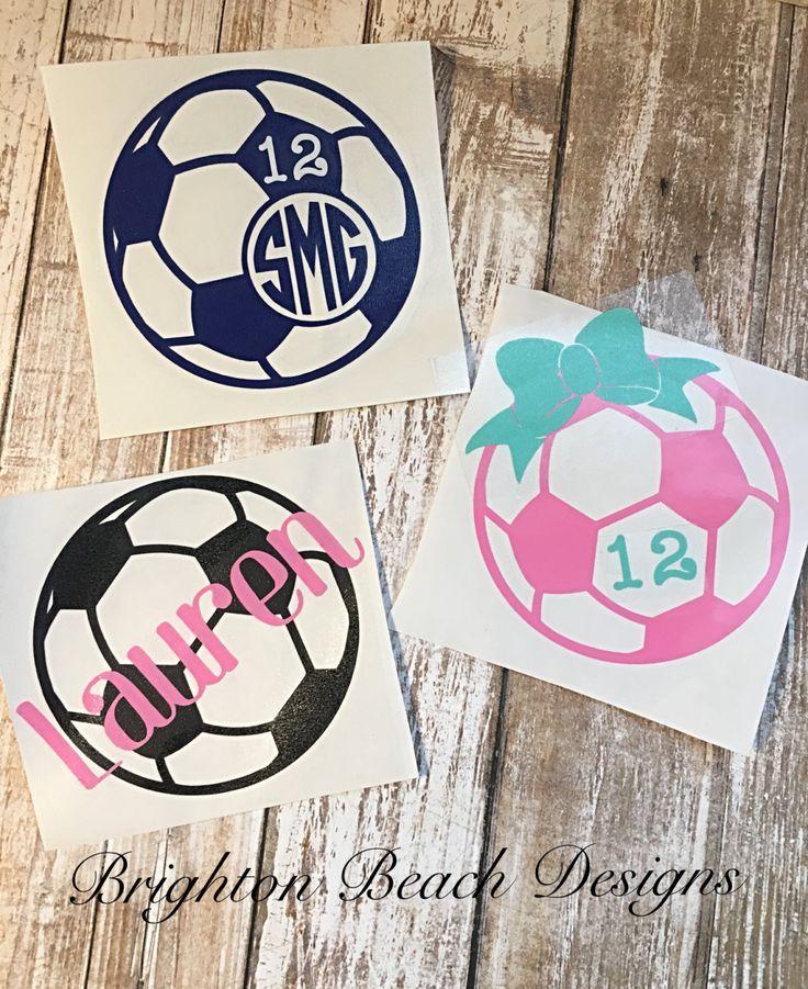 Monogram Soccer Decal/Soccer Sticker/Custom Soccer Decal/Personalized Soccer Decal/Soccer Decal for Yeti/Soccer Decal for Car/Soccer Decal by BrightonBeachDesigns on Etsy