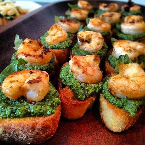 Pesto, siracha shrimp & basil bruschetta.. yum