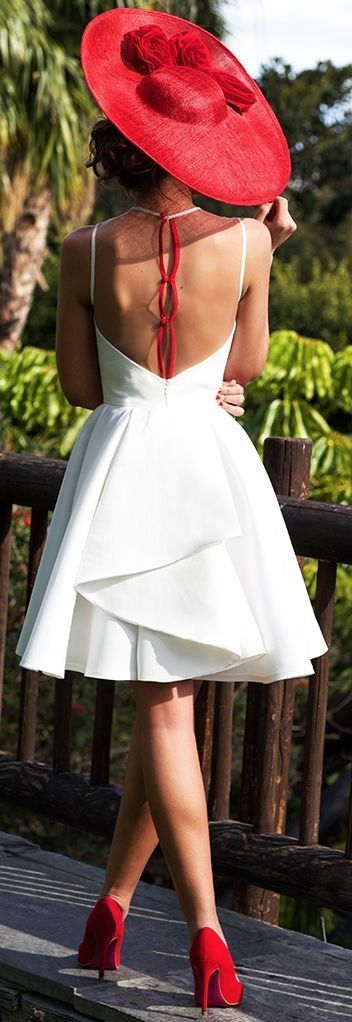 @roressclothes clothing ideas #women fashion white dress, red heels, hat Dalia Red And White Gown (Back)