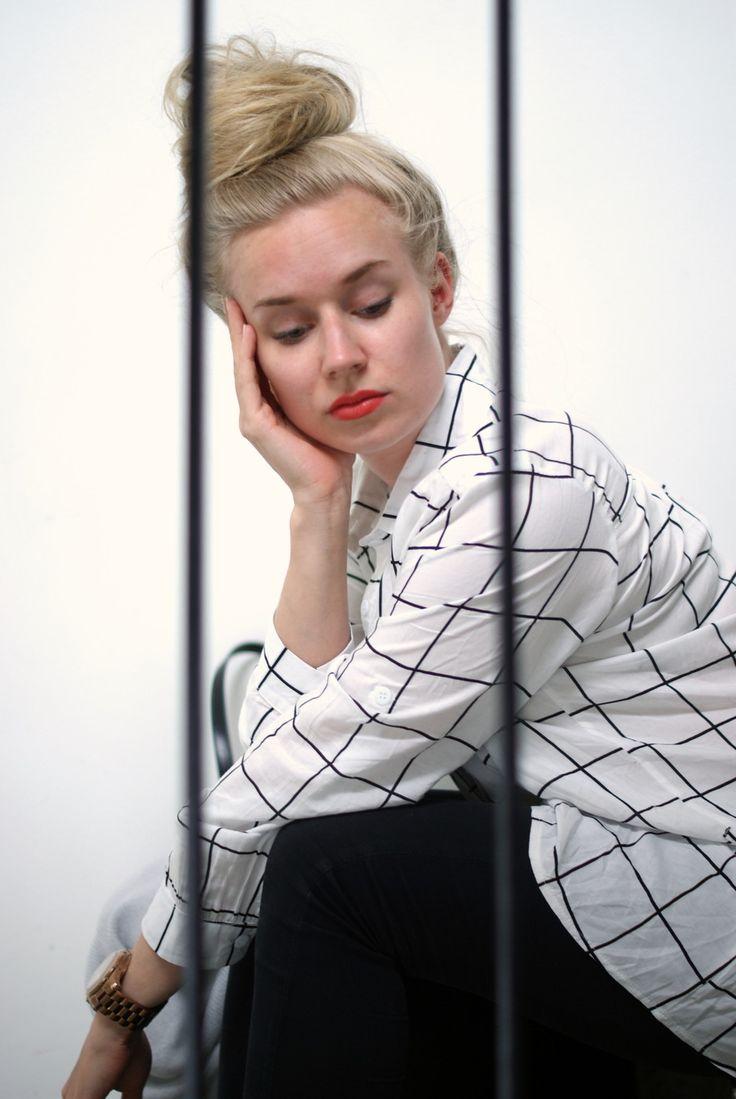Checkered black&white blouse