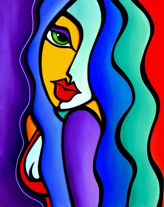 Mrs brightside original abstract painting modern pop portrait art by fidostudio acrylic painting by abstract facescolorful paintings abstractsimple