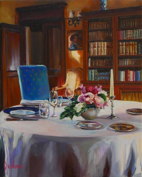 Sunset Dinner in the Library Chateau de Noizay - Lindsay Goodwin