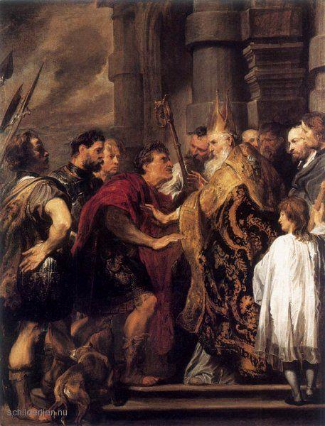 """Painting """"Keizer Theodosius verboden door de Sint-Ambrosius te Enter Dom van Milaan"""" by Sir Anthony van Dyck - www.schilderijen.nu"""