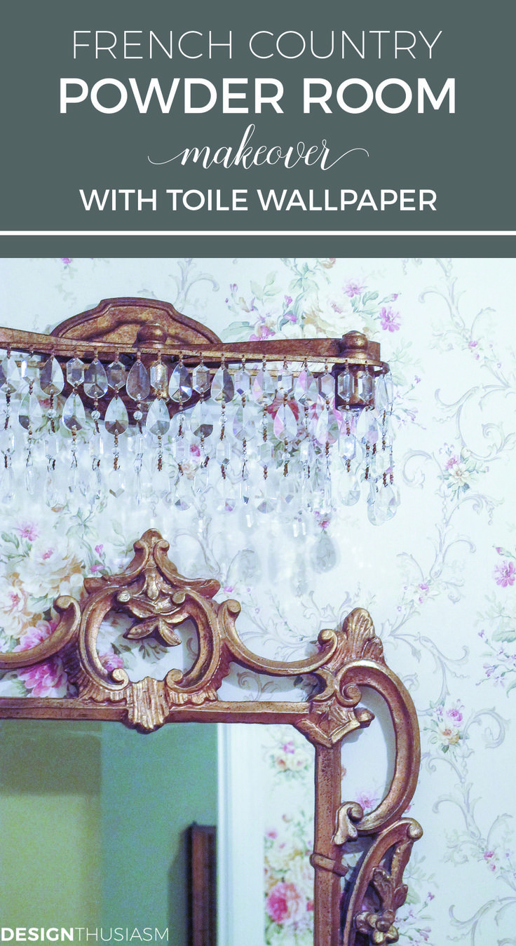 French themed bathroom decor - French Country Powder Room Makeover With Toile Wallpaper Powder Room Ideas With Vintage Mirrors French Bathroom Decorbathrooms