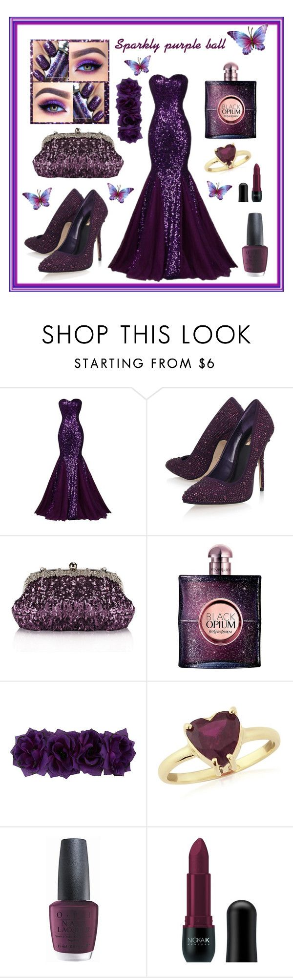 """Sparkly purple ball"" by nicolencok ❤ liked on Polyvore featuring Carvela Kurt Geiger, Chicnova Fashion, Yves Saint Laurent, Krausz Jewellery, OPI and Nicka K"