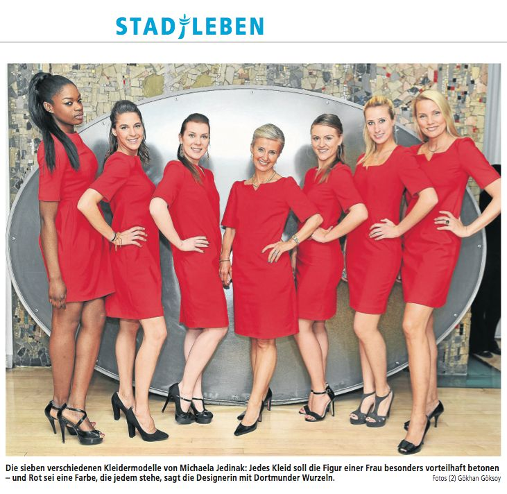 Michaela Jedina's seven red power dresses and her first German coverage in the DORTMUNDER RUHR NACHRICHTEN
