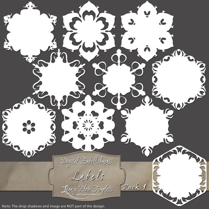 10 Snowflake Labels - Pack 1 $4.50 #snowflakes, #white, #labels, #winter, #embellishment, #scrapbooking