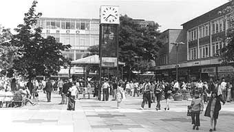 Crawley New Town- Queens Square with 'Veteran Car Clock' in the 1970s