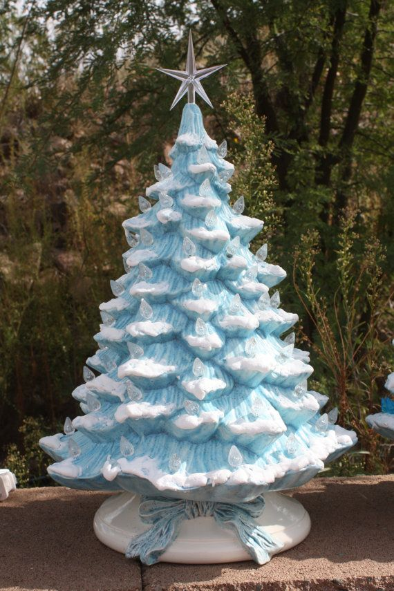 18 Ceramic Christmas Tree Lighted with Music Box by HHouseFired