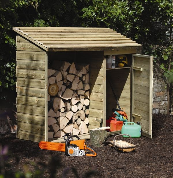 Log & Tool Store | This unit combines log, pre-packed coal and tool storage. The log store has a slatted base and back to encourage air flow to the logs. The storage unit has one integral shelf. #gardenstorage