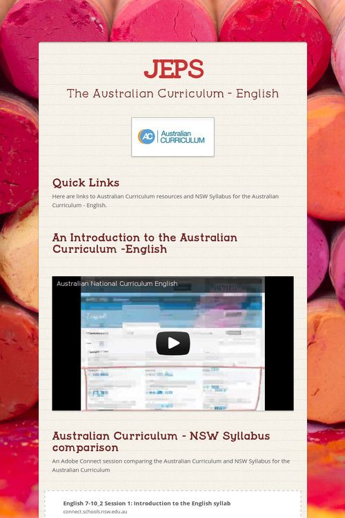 JEPS - The Australian Curriculum English