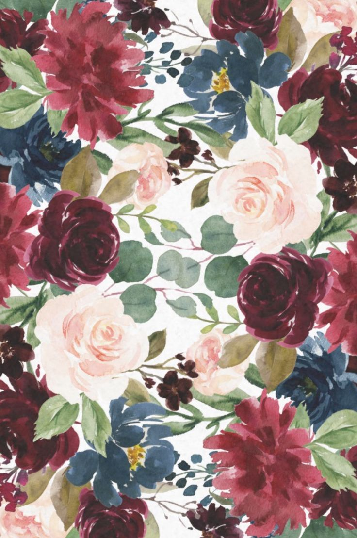 Burgundy Blue Watercolor Flowers Border Tissue Paper