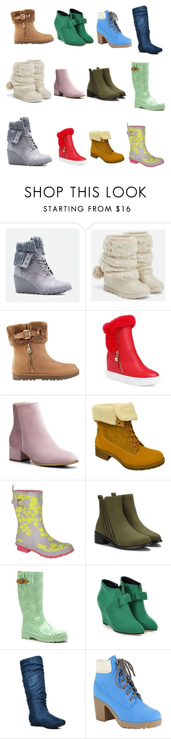 """Boots for Betty 4"" by bwilliamson102976 ❤ liked on Polyvore featuring JustFab, GUESS, Twisted, Joules, Chooka, BLVD Supply and Reneeze"