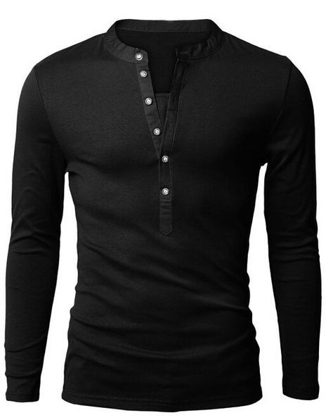 Mens Long-sleeved Polos Fashion Casual Slim Fit http://www.buzzblend.com