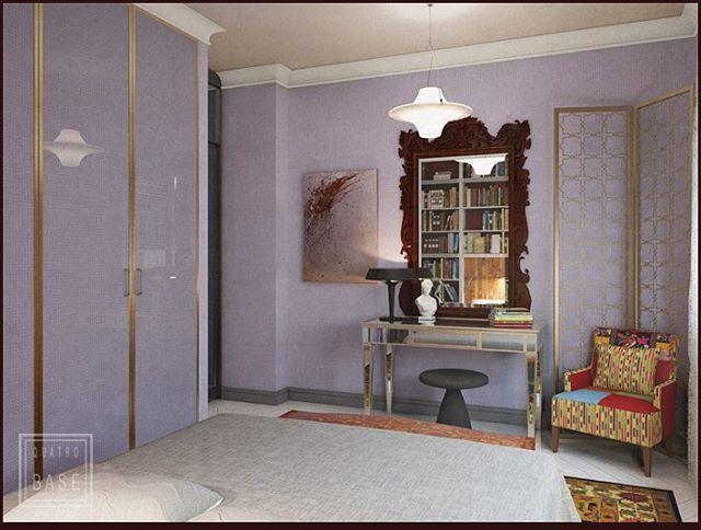 """Спальня из нашего ретро-проекта """"свобода есть"""" . На стенах обои в мелкую клетку , которые мы когда-то придумали для конкурса pinwin. Слева шкаф, двери в латунный рамках отделаны теми же обоями под стеклом. #проект4B"""