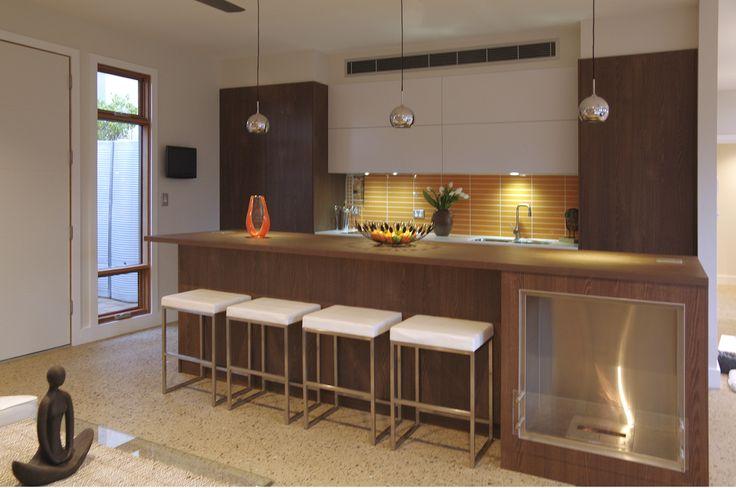 Zero Carbon House #Kitchen #Orange #Glass #Splashbacks