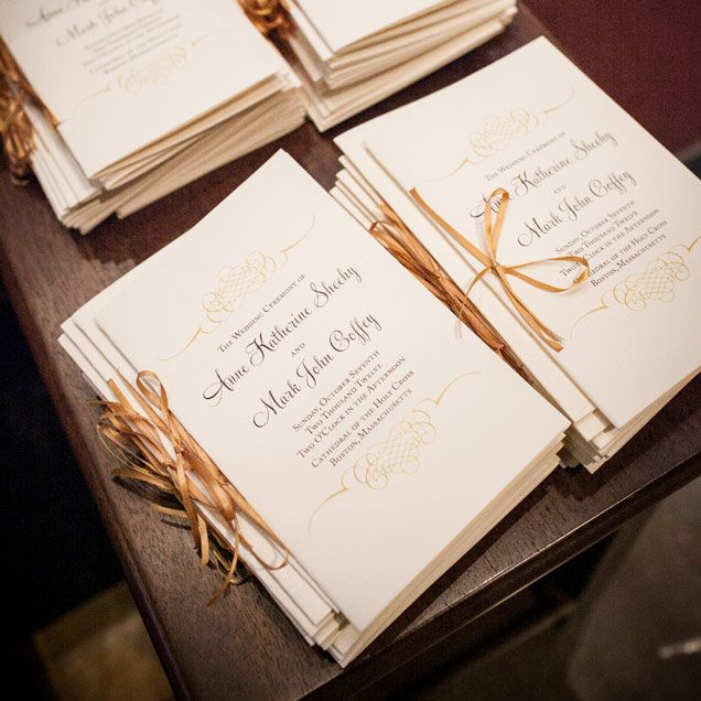 Elegant ceremony programs await the guests