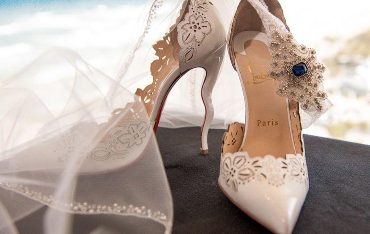 Luxury Daytona Beach Wedding at The Shores Resort and Spa, FL  Stunning white Christian Louboutin wedding shoes!   Photographer:  Our Day Wedding Photography