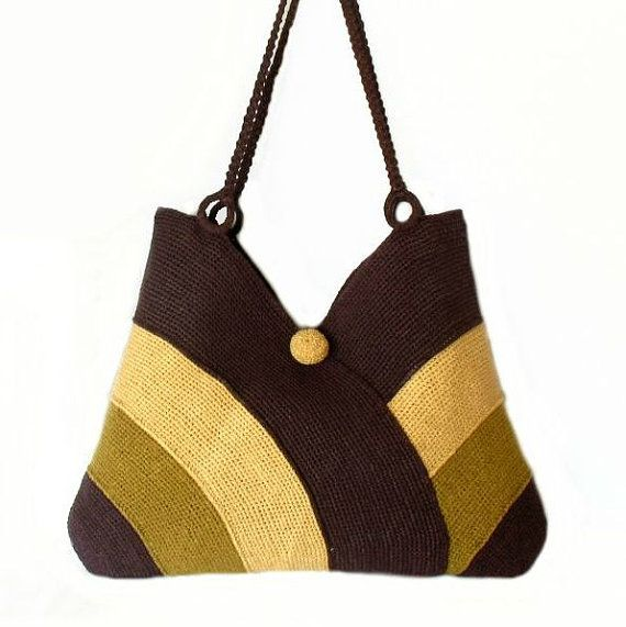 Crochet beach bag, Summer shoulder bag, Knitted beach bag tote, Everyday women bag, Handbag in violet, sand yellow and tobacco color