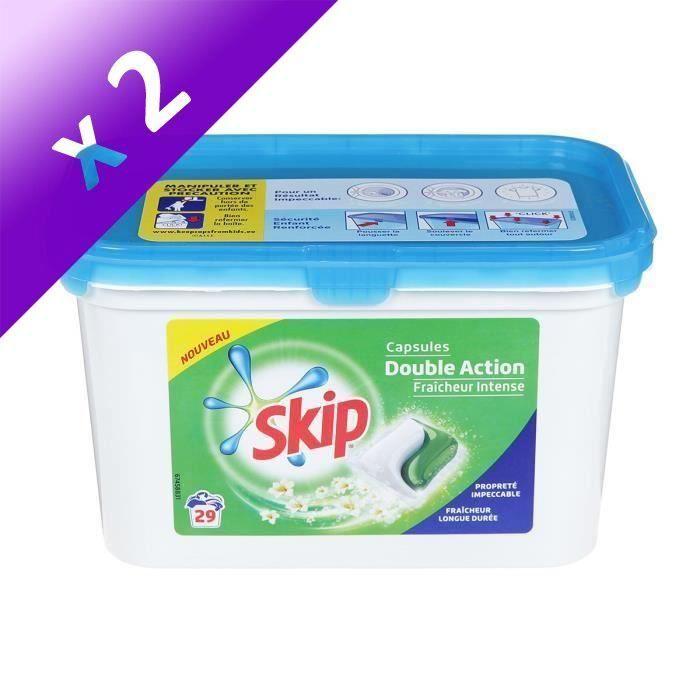 Skip Lessive Capsules Double Action 29 Lavages Fraicheur Intense Lot De 2 Lessive Lavage Et Capsule