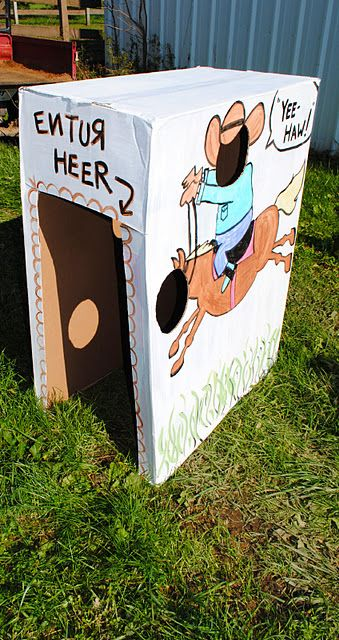 """Cowboy Photo booth. I'm thinking no crawl in box but maybe a frame photo booth. It could be like the """"photo station"""" for the grand prize show horse and have props"""
