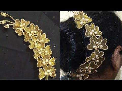 How to make hair brooch at home | hair brooch for wedding | hair brooch making - YouTube