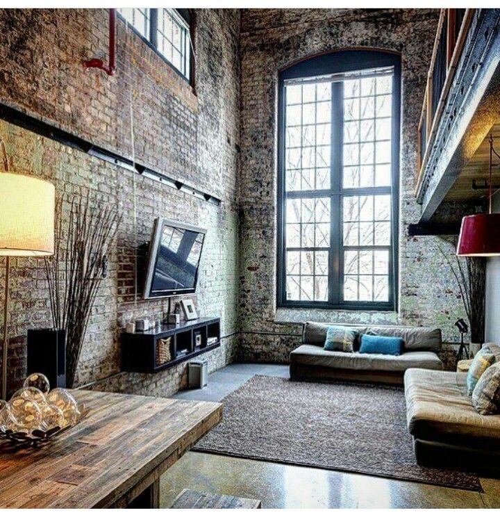 Interior design | industrial apartment | black interior | concrete interior | bricks interior