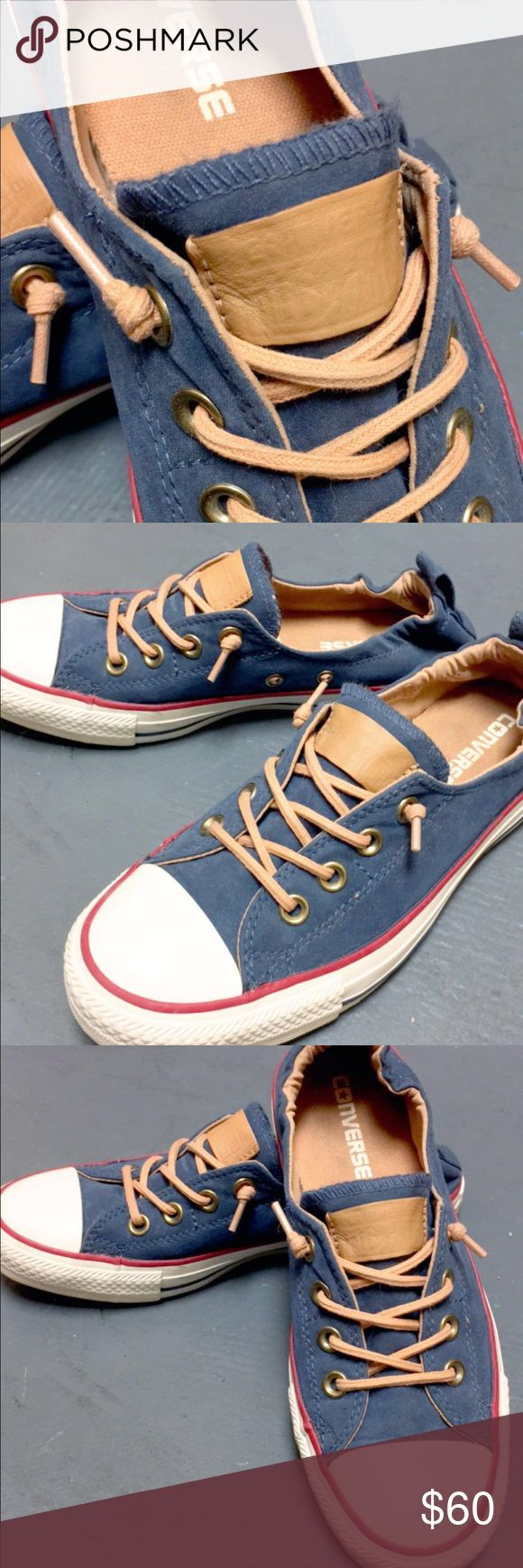 Converse shoreline RARE color combo Worn a handful of times, and unable to find them anywhere else. Super cute, Converse Women's Blue Chuck Taylor All Star 'peached - Shoreline' Low Top Slip-on Sneaker. converse slip ons. Size 7.5. Converse Shoes Sneakers