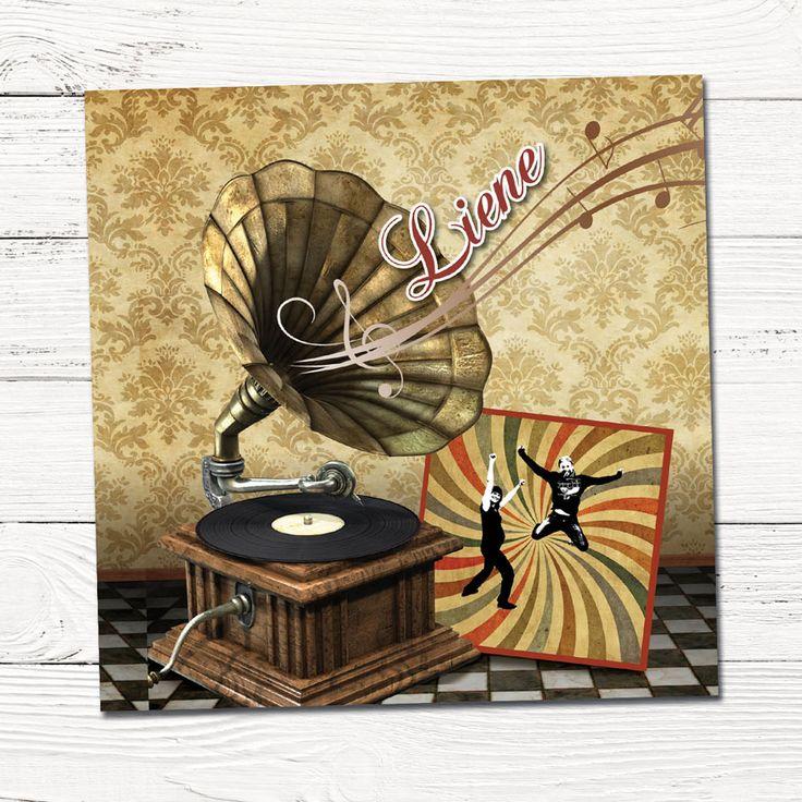 Retro geboortekaartje met muziek | platenspeler | vinyl | vintage | grafisch | ontwerp | babykaartjes | foto