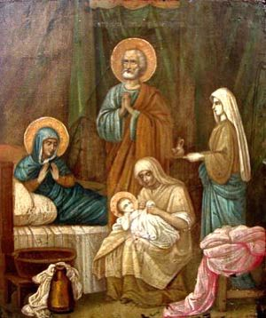 What Is the Nativity of the Blessed Virgin Mary?: Icon of the Nativity of the Mother of God, egg tempera on wood, Central Russia, mid-1800's.