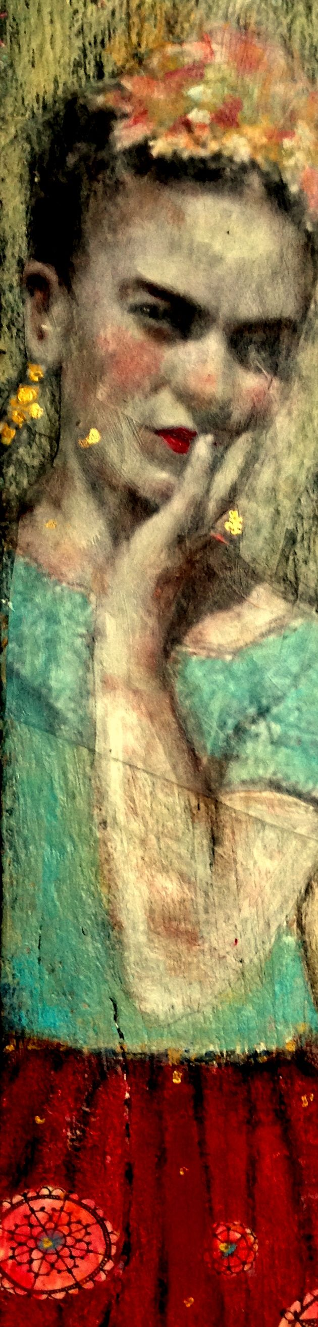 mixed media on found board from Heather Murray Canadian artist