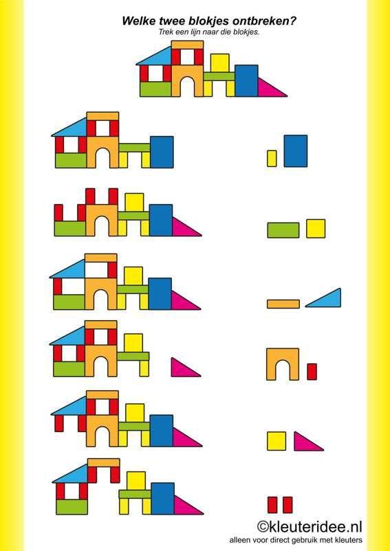 Welke twee blokjes ontbreken , kleuteridee.nl ,Which two elements are missing, answers, free printable.