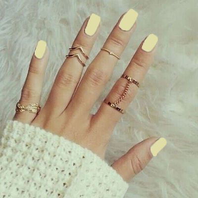 Personality Leaf Knuckle Midi Mid Finger Tip Stacking Chain Rings 6pcs Women Set