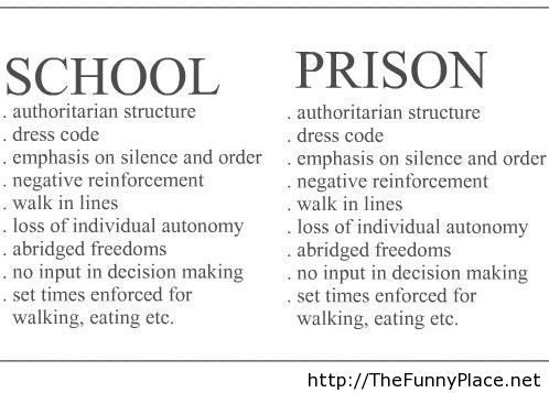 similarities between school & prison THE FUNNY QUOTES